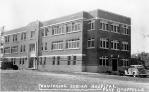 Fort Qu'Appelle Indian Hospital where many infants were vaccinated with BCG. [Ft Qu'Appelle Hospital Accession no. R96-472, Saskatchewan Archives Board.]