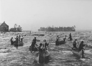 Fishing at the rapids on St. Mary's River circa 1885.