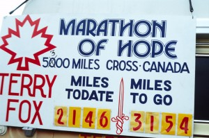 Terry Fox Marathon of Hope banner. City of Toronto Archives.