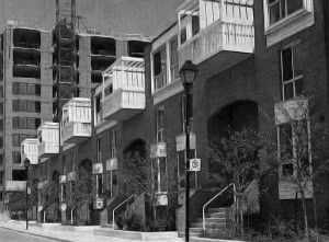 The two principle design elements of St Lawrence Neighbourhood: traditional, street-facing urban townhouses and mid-rise apartment blocks, both taking shape c.1980. Canadian Architect, June 1981.