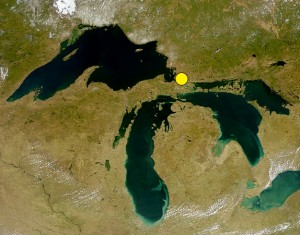 The Great Lakes, showing the location of Sault Ste. Marie. Satellite data: SeaWiFS Project, NASA/Goddard Space Flight Center, and ORBIMAGE, 24 April 2000.