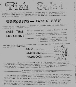 1970 ad for the strikers' fish sale.