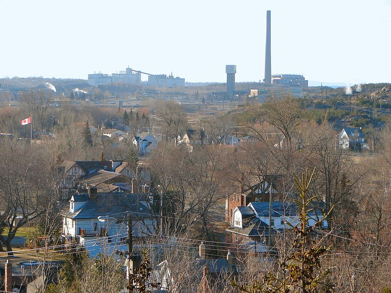 The community of Copper Cliff, Ontario, with Superstack in background. Source: Wikipedia.