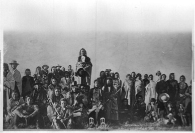 "Little Bear's Band as they await deportation to Canada in 1896 ""Little Bear, Cree, Rocky Boy Reservation, Montana,"" Montana University State-Northern, FM-1-134, Indian Peoples of the Northern Great Plains Digital Collection, http://arc.lib.montana.edu/indian-great-plains/item/632"