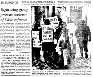 Mixed reception for Chilean refugees. Toronto Star, Jan. 14, 1974.