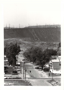 A view of the slag storage area, from Gutcher Street in Gatchell, circa 1970. Anonymous local photographer.