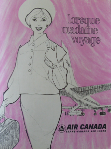 """LORSQUE MADAME VOYAGE"" 1962 TCA travel brochure. Source: Air Canada Collection, CASM"
