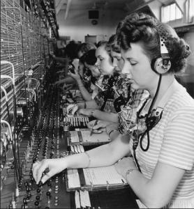 Telephone exchange, c.1950