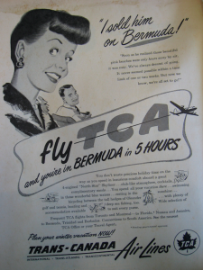"""I SOLD HIM ON BERMUDA"" 1949 TCA women's newspaper advertisement. Source: Air Canada Collection, CASM"