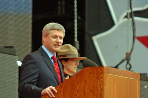Prime Minister Stephen Harper speaking in 2012 – from Wikicommons