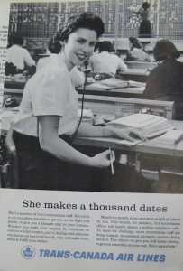 """SHE MAKES A THOUSAND DATES"" 1958 TCA magazine advertisement. Source: Air Canada Collection, CASM"