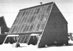 The Meadowvale Solar Home in the winter of 1977. This experimental home was built to test the application of solar heating technology in Canada. While a success, it provided heat far less efficiency than the WATSUN model calculated and experienced many more technical problems than the model projected.   Picture Provided by: B. E. Sibbett and H. Jung, Performance of the Meadowvale Solar System (Ottawa: Division of Building Research, National Research Council, 1981)