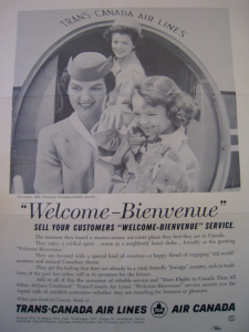 """WELCOME-BIENVENUE"" 1960 TCA advertisement. Source: Air Canada fonds, Library and Archives Canada"