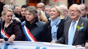 France's Marine and Jean-Marie Le Pen, on right.