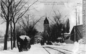 Winter street scene, Quebec City, QC, about 1910. Source: McCord Museum.