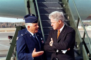 President Clinton talks to Air Force Colonel Paul Fletcher, 1999. USAF.