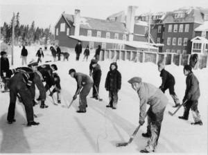 "Students playing hockey at school, Circa. 1951, ""Pelican Lake Indian Residential School: Photo Album,"" File. no. 130, Shelf location 2010-007-001, Algoma University Archives"