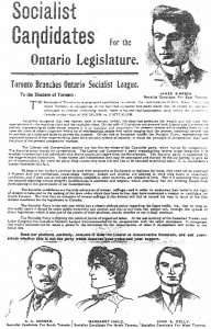 Ontario Socialist League slate, 1902. Margaret Haile in middle. Torontoist.