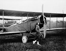 CFWW Millward - Katherine Stinson and her Curtiss aeroplane - small