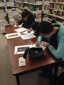 Students brainstorm how different types of archival records can teach us about people in the past, at Agincourt Collegiate in Toronto, February 2016.