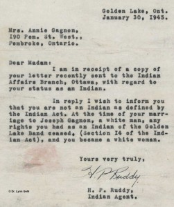 Figure 5 - The letter sent by Indian Affairs, denying Mrs. Gagnon's status as an Indian in 1945.