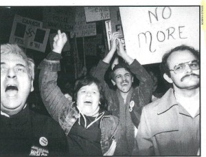 Activists organized a response to the 1981 Toronto bath raids in the streets and in the courts – photo used with permission from Gerald Hannon