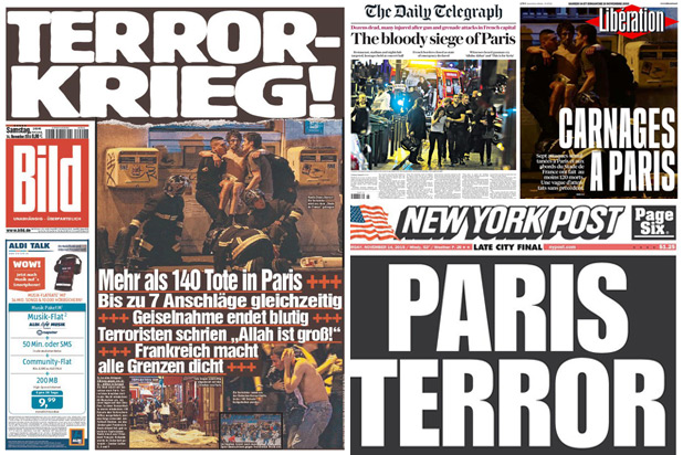 Headlines after the Paris Attacks. Thewrap.com