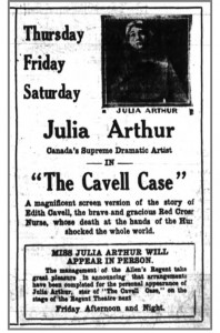 Fig 4 Arthur as Cavell Ottawa Journal 22 Mar 1919 p 11l copy