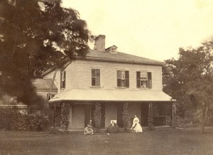 Eldon House, west lawn, c1875. From left: George and Teresa, Amelia (mother) and Sophia (Edward's wife) Western University Archives, Harris Family Fonds, RC#41003