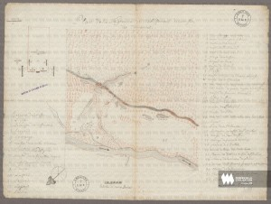 Map of the Tamaroa (Illinois) mission's seigneury and buildings Jean-Paul Mercier, Priest 1735