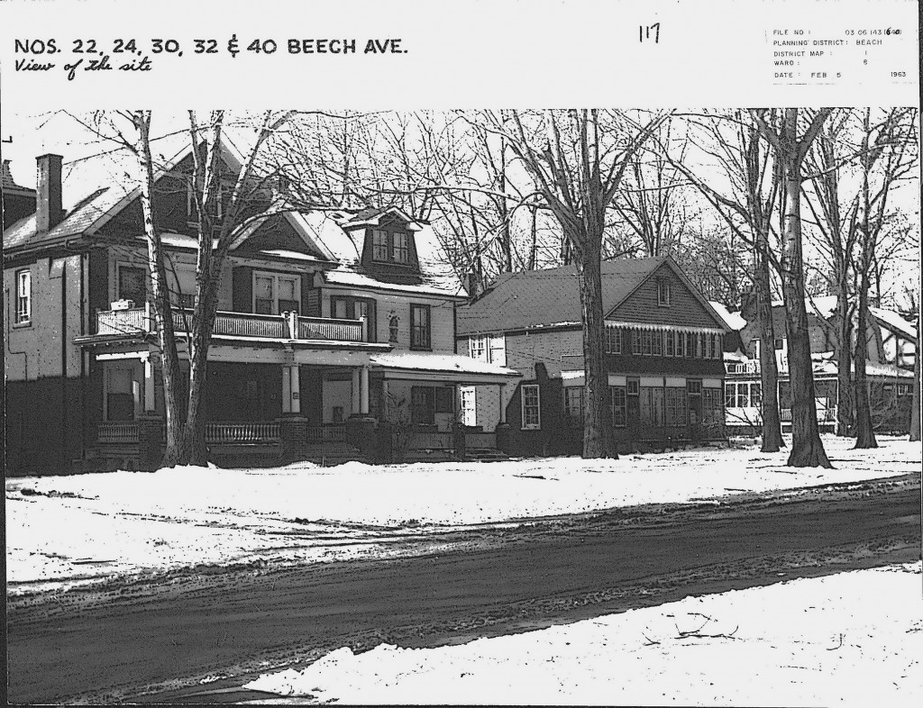 Site of proposed development on west side of Beech Avenue, 1963. City of Toronto Archives, Fonds 2032, Series 840