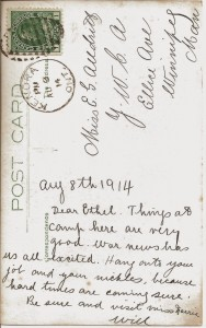 Alldritt 3 - Aug 8, 1914 postcard to Ethel from camp_back