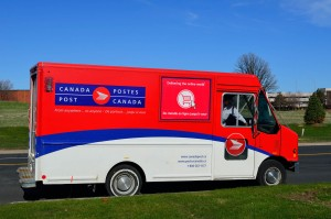 Canada Post delivery truck in Ontario. Public domain image.