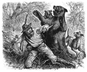 Hugh Glass's encounter with the grizzly bear was depicted in illustrations soon after it was first reported. Wikimedia Commons.