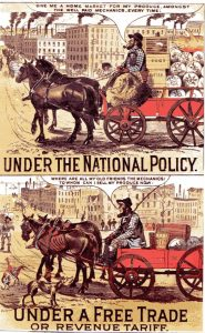 An 1878 political cartoon for the National Policy and against Free Trade. Comic with horse and buggy