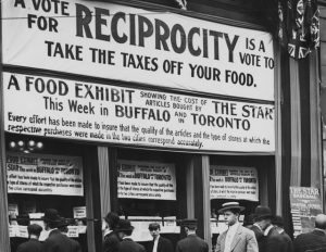 Window display in support of reciprocity at the Toronto Star building, 1911. From the City of Toronto Archives, Fonds 1244, Item 342. (From Torontoist.com)