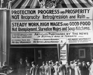 Anti-Reciprocity signs on The News building, 1911. From the City of Toronto Archives, Fonds 1244, Item 343. (Taken from Torontoist.com)