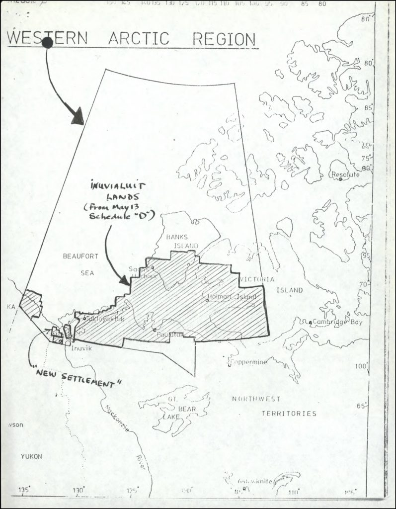 A map of the proposed Inuvialuit Settlement Region, with both Inuvialuit-owned lands and Crown lands, July 1976. In their attention to lands, ownership, and management, modern treaties create new relationships between people and the environment and reshape the political territory of Canada. © Government of Canada. Reproduced with the permission of Library and Archives Canada (2016). Source: Library and Archives Canada/Alastair Gillespie fonds/Vol.2 file 243-15