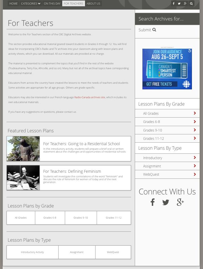 Lesson Plans section of CBC Digital Archive