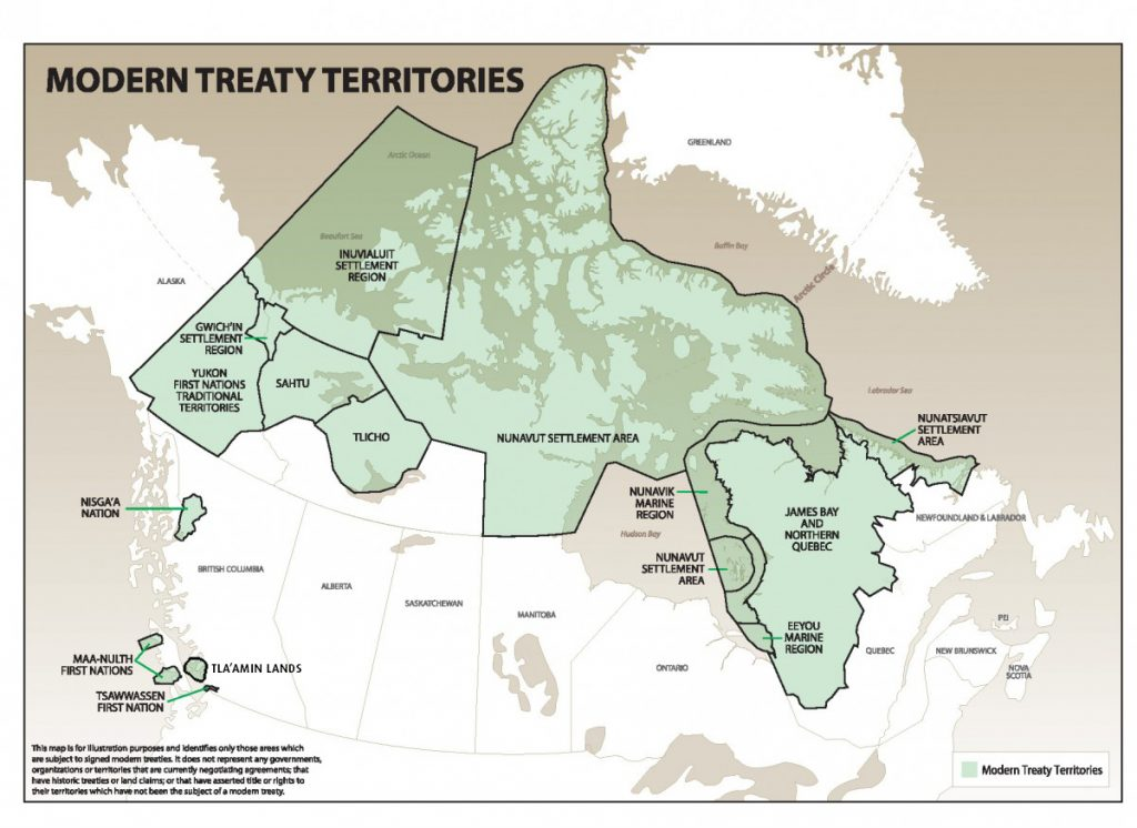 Map showing the modern treaty territories.