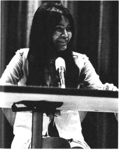 Lillian Piché Shirt speaking at the University of Alberta in Sept. 1969 for the Native Peoples Defense Fund. The Gateway 29 Sept., 1969: 1