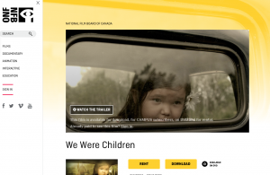 "Screenshot of NFB website for ""We Were Children,"" taken by author"""