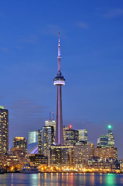 Illuminated CN Tower in Toronto at night.