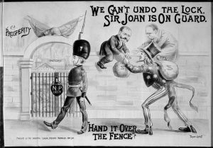 "Cartoon depicting two Canadian Men straddling a wall with a locked gate. ""Uncle Sam"" is handing them a bag of money over the fence."