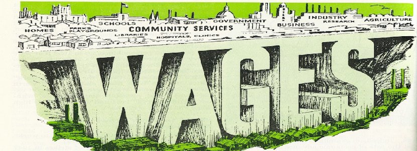 'Wages' written in concrete supporting community services, government, business, and other economic factors.