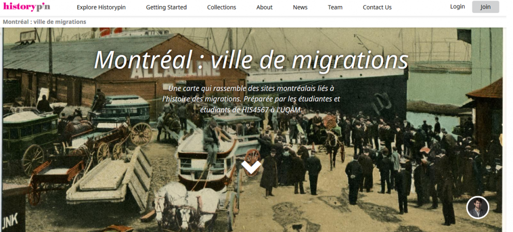 Screen short of Montreal: ville de migrations history pin homepage