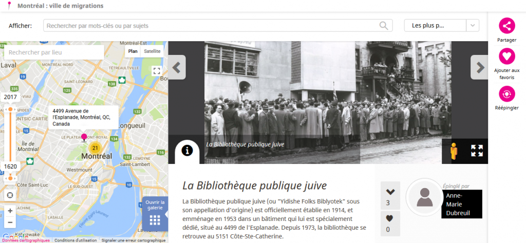 Screenshot of La Biblioteque publique juive. Shows map and historic photograph of people outside a building