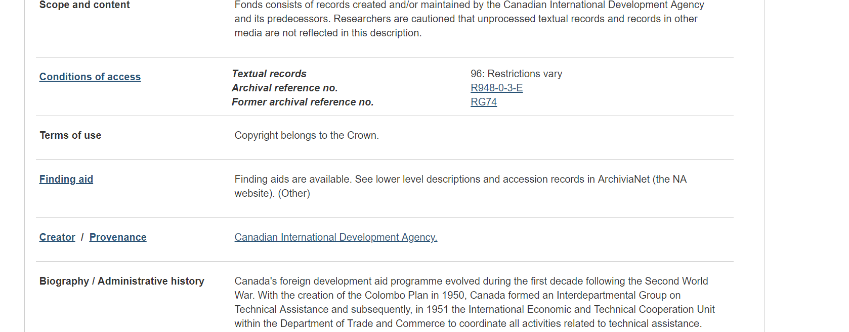 Screen shot of fonds level description