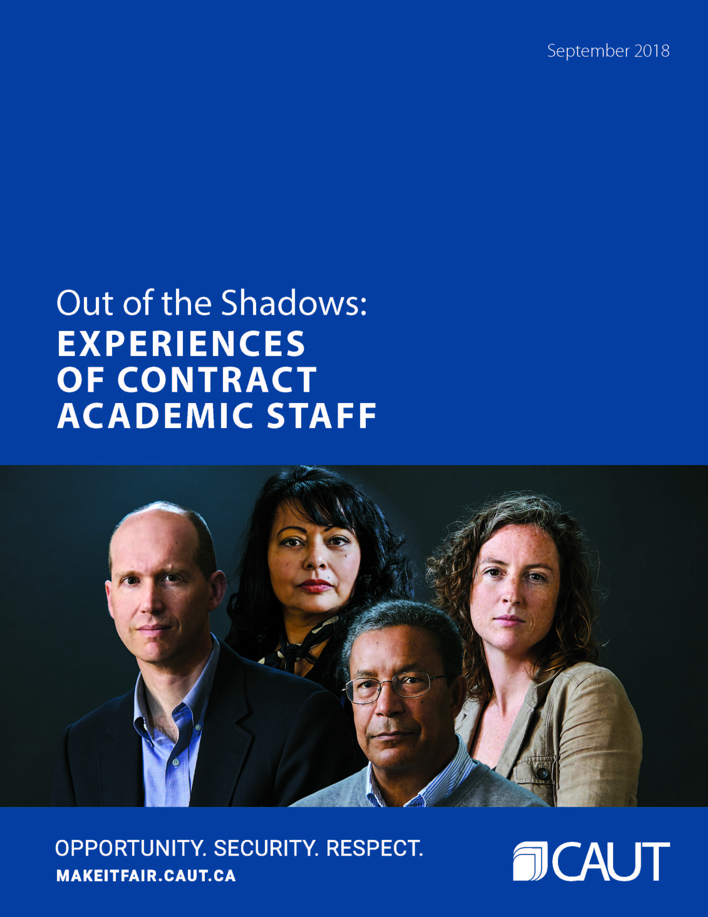 "Cover of CAUT ""Out of the Shadows"" report."