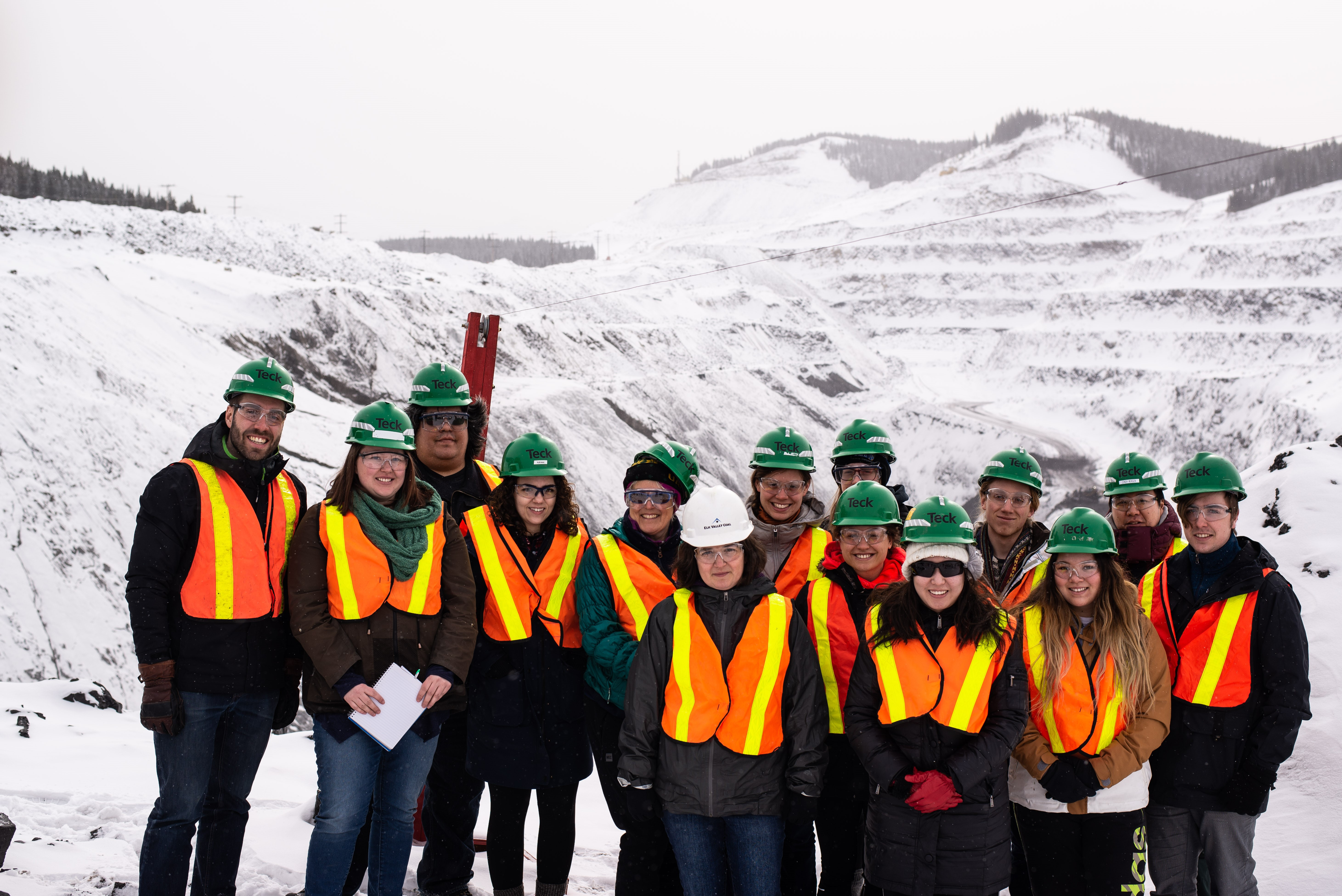 Some of our group all geared up and ready tour some mines. Photo by H. Longley.